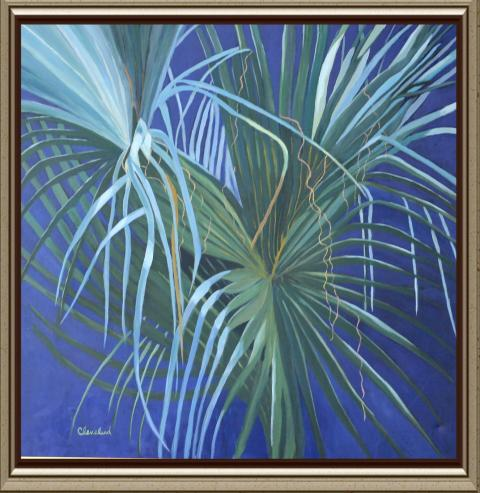 Palm fronds in the moonlight