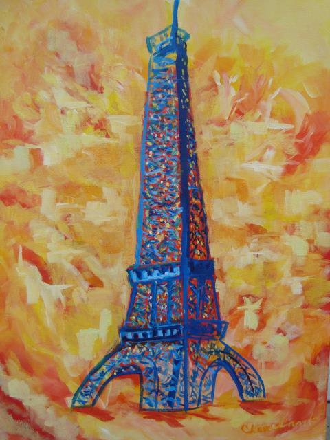 "Eiffel Tower oil 18""x24"""
