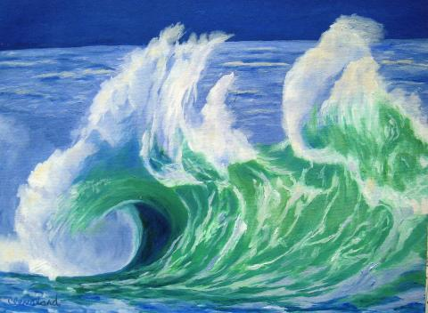 One of the series of wave paintings
