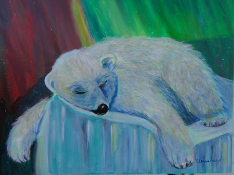 Polar Bear in northern lights
